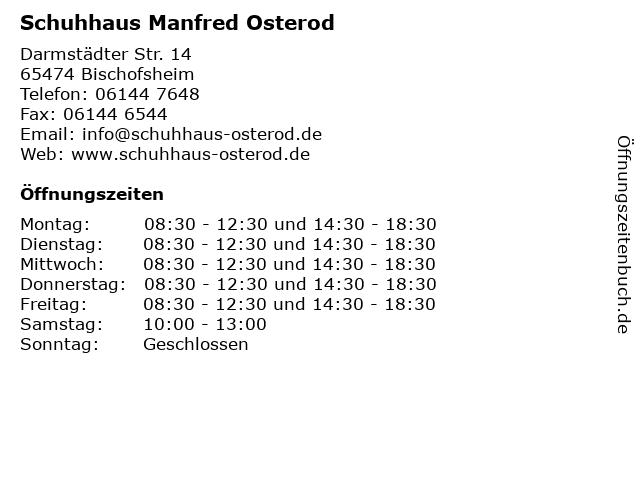 Schuhhaus Manfred Osterod in Bischofsheim: Adresse und Öffnungszeiten
