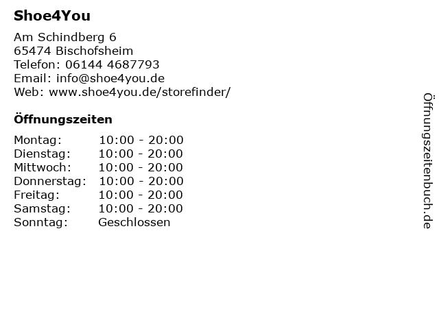 Shoe 4 you in Bischofsheim: Adresse und Öffnungszeiten