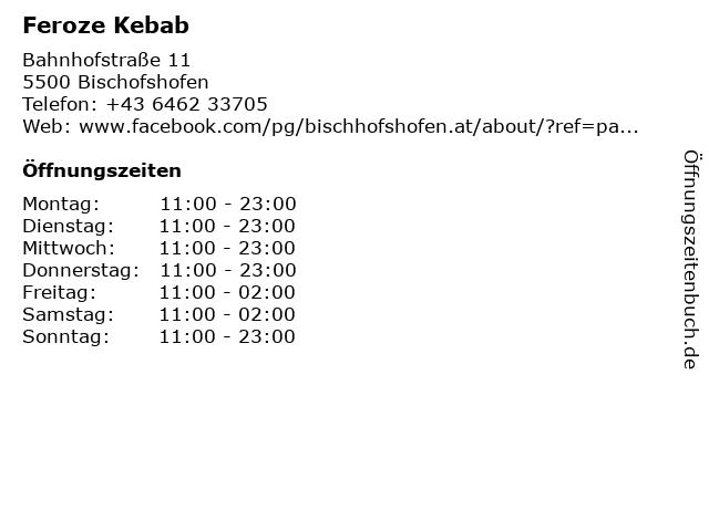 Feroze Kebab in Bischofshofen: Adresse und Öffnungszeiten