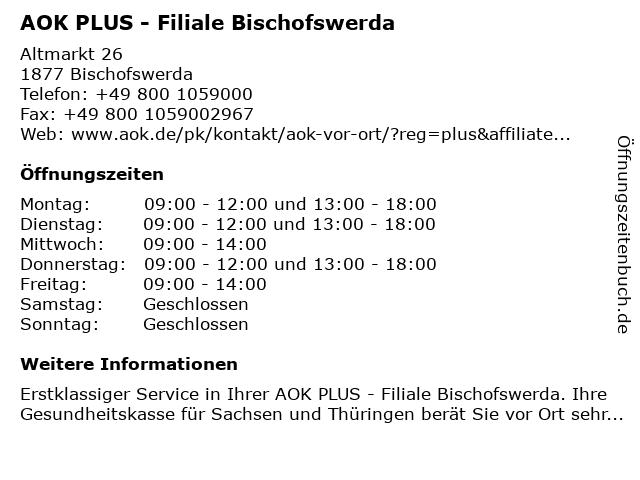AOK PLUS - Filiale Bischofswerda in Bischofswerda: Adresse und Öffnungszeiten
