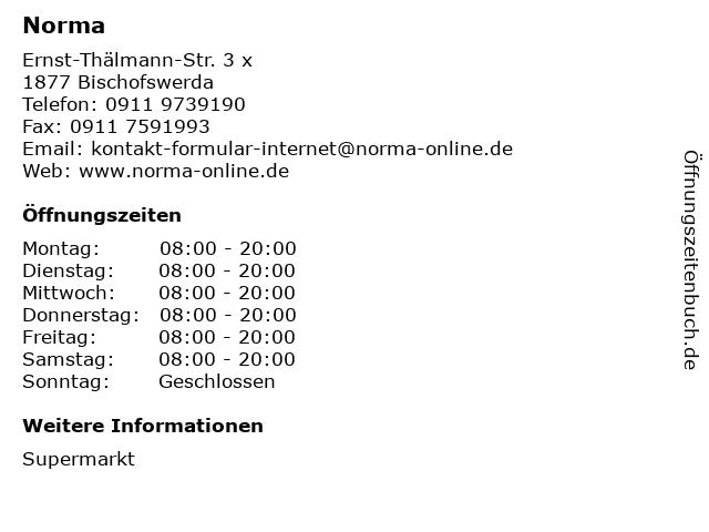 Norma Lebensmittelfilialbetrieb Stiftung & Co. KG in Bischofswerda: Adresse und Öffnungszeiten