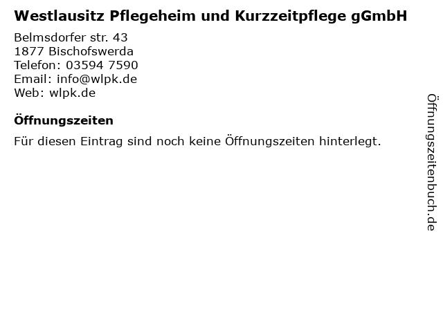 Westlausitz Pflegeheim und Kurzzeitpflege gGmbH in Bischofswerda: Adresse und Öffnungszeiten