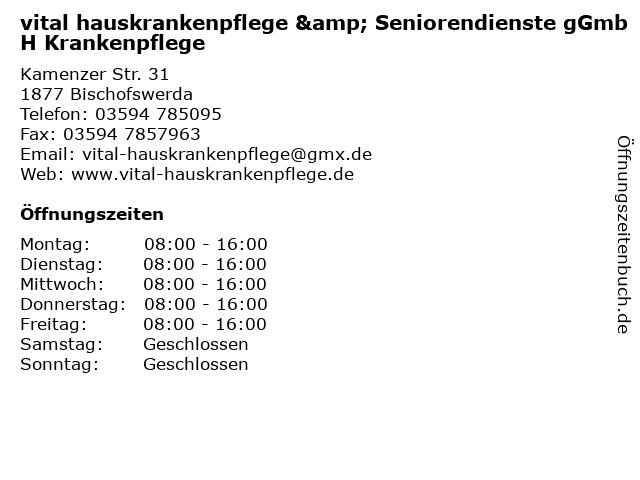 vital hauskrankenpflege & Seniorendienste gGmbH Krankenpflege in Bischofswerda: Adresse und Öffnungszeiten