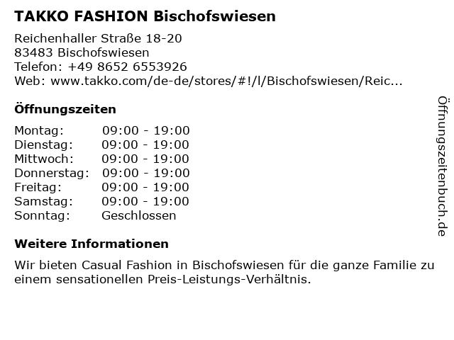 Takko Fashion in Bischofswiesen: Adresse und Öffnungszeiten
