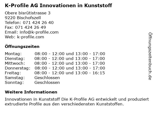 K-Profile AG Innovationen in Kunststoff in Bischofszell: Adresse und Öffnungszeiten