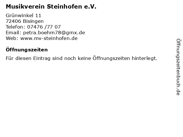 Musikverein Steinhofen e.V. in Bisingen: Adresse und Öffnungszeiten