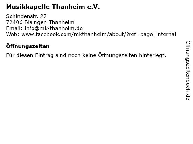 Musikkapelle Thanheim e.V. in Bisingen-Thanheim: Adresse und Öffnungszeiten