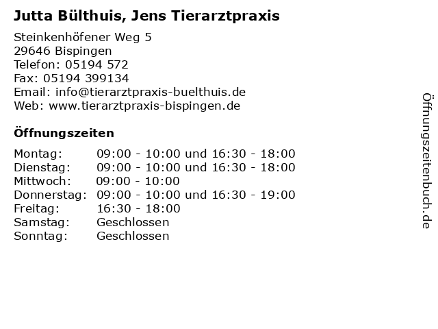 Jutta Bülthuis, Jens Tierarztpraxis in Bispingen: Adresse und Öffnungszeiten