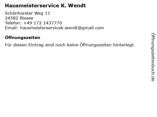 Hausmeisterservice K. Wendt in Bissee: Adresse und Öffnungszeiten