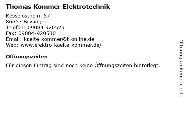 Thomas Kommer Elektrotechnik in Bissingen: Adresse und Öffnungszeiten