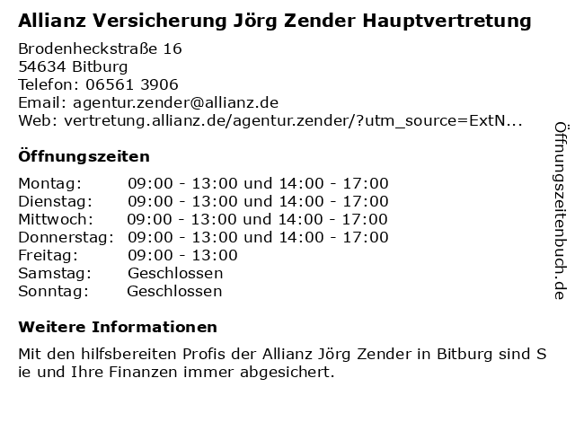 Allianz Vertretung Jörg Zender in Bitburg: Adresse und Öffnungszeiten