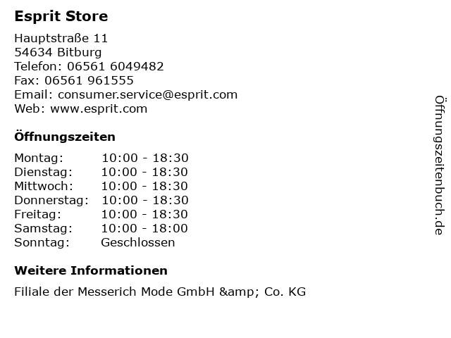 Esprit Store in Bitburg: Adresse und Öffnungszeiten