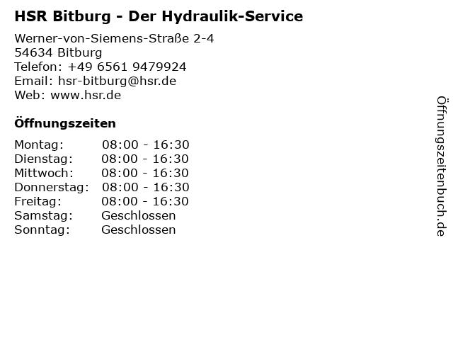 HSR Der Hydraulik-Service in Bitburg: Adresse und Öffnungszeiten