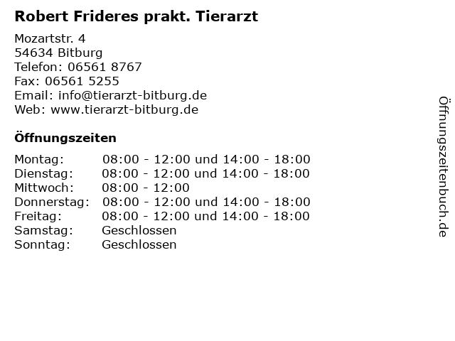 Robert Frideres prakt. Tierarzt in Bitburg: Adresse und Öffnungszeiten