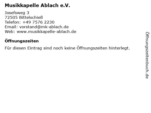 Musikkapelle Ablach e.V. in Bittelschieß: Adresse und Öffnungszeiten
