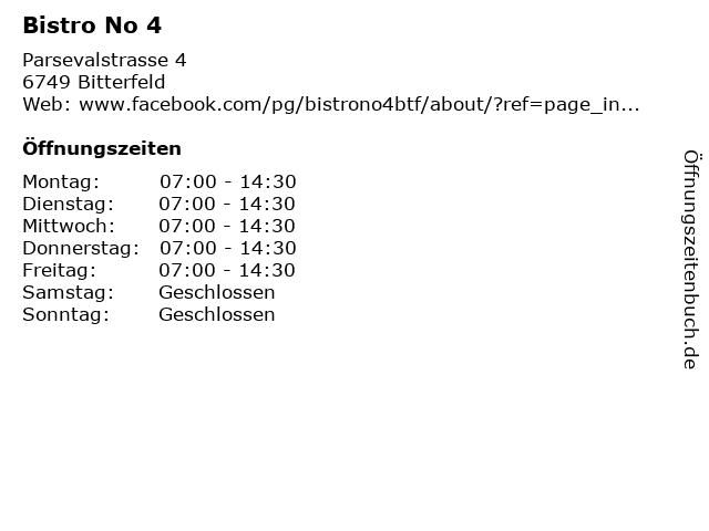 Bistro No 4 in Bitterfeld: Adresse und Öffnungszeiten