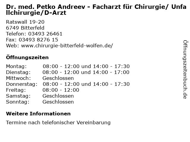 Dr. med. Petko Andreev (Facharzt für Chirurgie) in Bitterfeld: Adresse und Öffnungszeiten