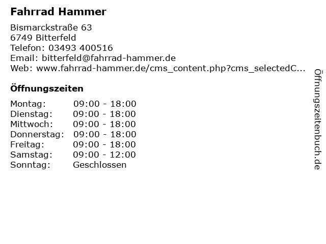 Fahrrad Hammer in Bitterfeld: Adresse und Öffnungszeiten
