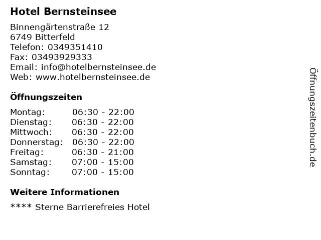 Hotel Bernsteinsee in Bitterfeld: Adresse und Öffnungszeiten