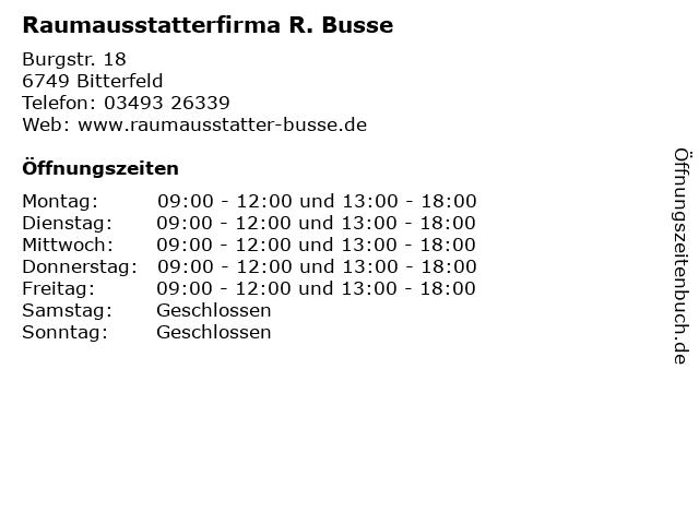 Raumausstatterfirma R. Busse in Bitterfeld: Adresse und Öffnungszeiten