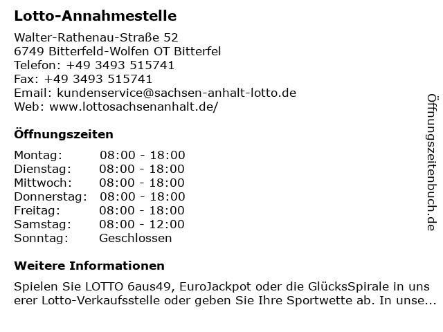 Lotto-Annahmestelle in Bitterfeld-Wolfen OT Bitterfel: Adresse und Öffnungszeiten