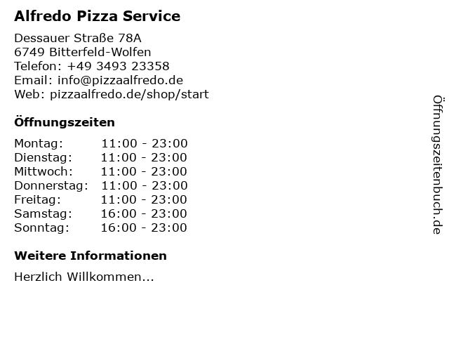 Alfredo Pizza Service in Bitterfeld-Wolfen: Adresse und Öffnungszeiten