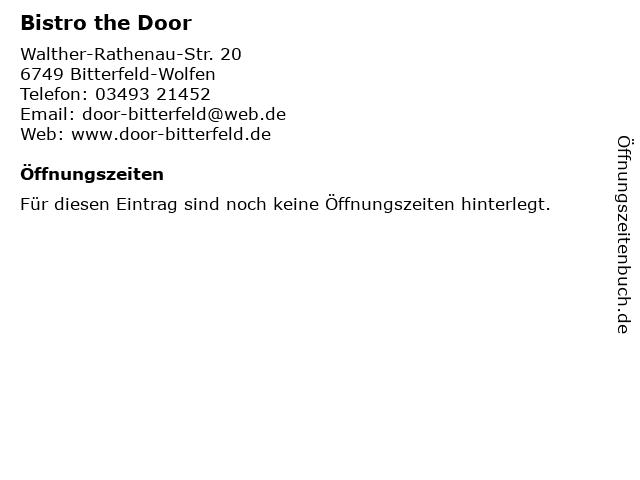 Bistro the Door in Bitterfeld-Wolfen: Adresse und Öffnungszeiten