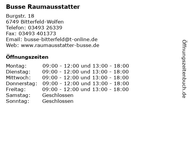 Busse Raumausstatter in Bitterfeld-Wolfen: Adresse und Öffnungszeiten