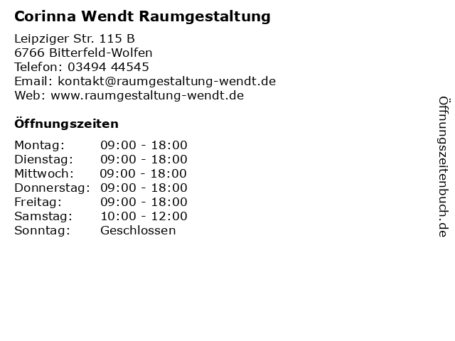 Corinna Wendt Raumgestaltung in Bitterfeld-Wolfen: Adresse und Öffnungszeiten