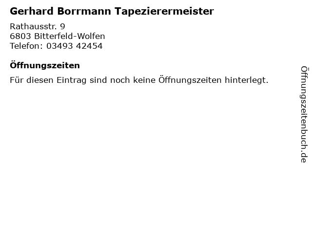 Gerhard Borrmann Tapezierermeister in Bitterfeld-Wolfen: Adresse und Öffnungszeiten