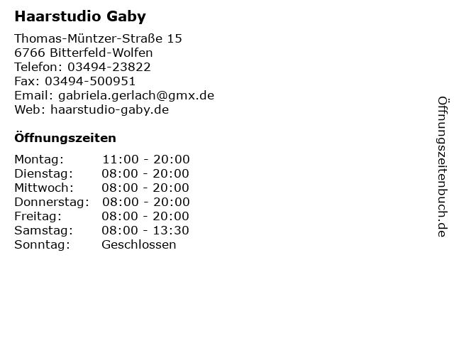 Haarstudio Gaby in Bitterfeld-Wolfen: Adresse und Öffnungszeiten