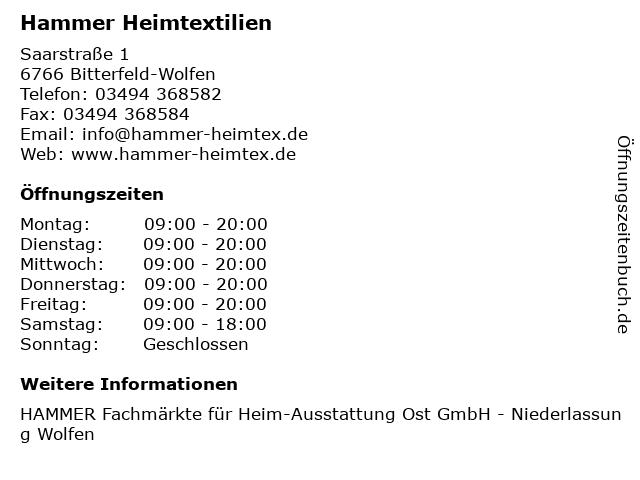 Hammer Heimtextilien in Bitterfeld-Wolfen: Adresse und Öffnungszeiten