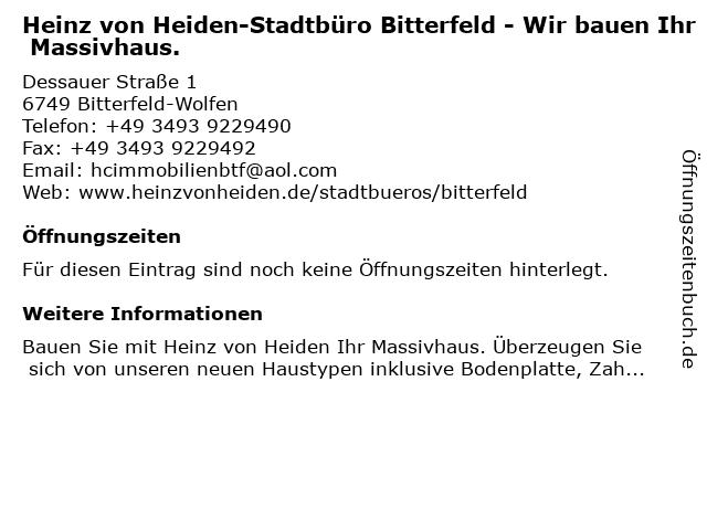 Heinz von Heiden-Stadtbüro Bitterfeld - Wir bauen Ihr Massivhaus. in Bitterfeld-Wolfen: Adresse und Öffnungszeiten