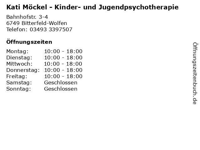 Kati Möckel - Kinder- und Jugendpsychotherapie in Bitterfeld-Wolfen: Adresse und Öffnungszeiten