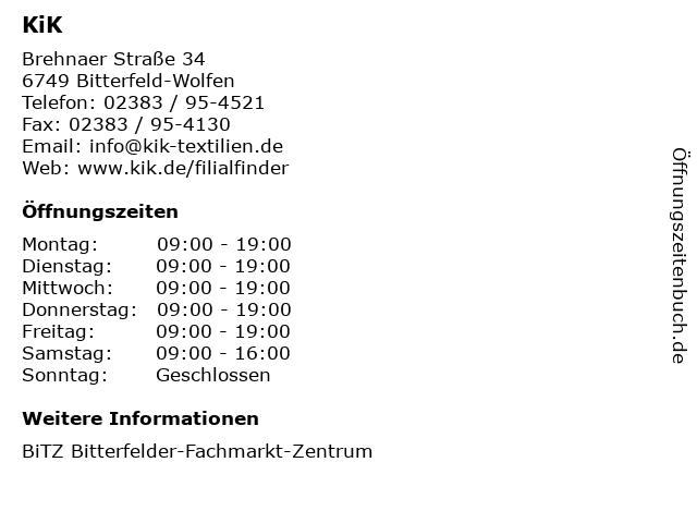 KiK Textilien und Non-Food GmbH in Bitterfeld-Wolfen: Adresse und Öffnungszeiten