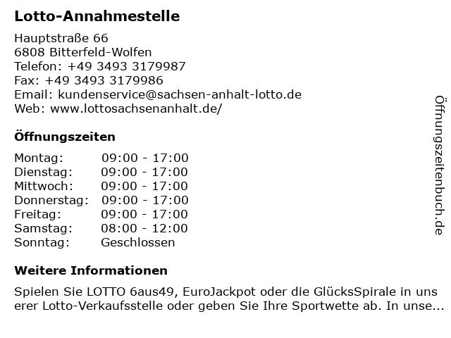 Lotto-Annahmestelle in Bitterfeld-Wolfen: Adresse und Öffnungszeiten