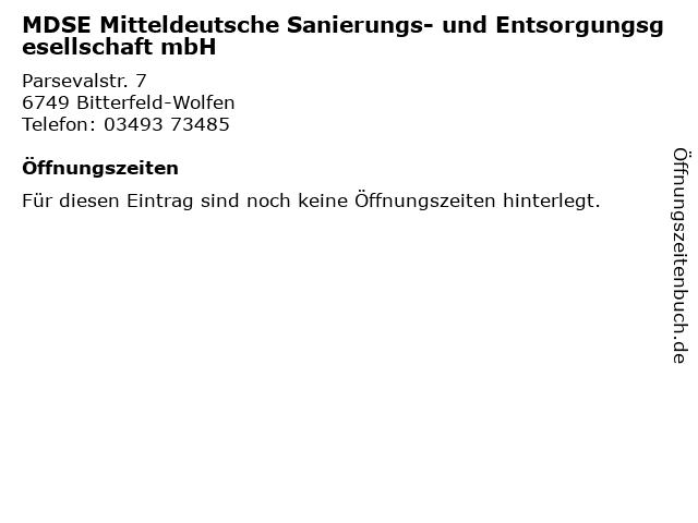 MDSE Mitteldeutsche Sanierungs- und Entsorgungsgesellschaft mbH in Bitterfeld-Wolfen: Adresse und Öffnungszeiten