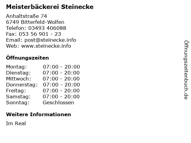 Meisterbäckerei Steinecke GmbH und Co. KG in Bitterfeld-Wolfen: Adresse und Öffnungszeiten