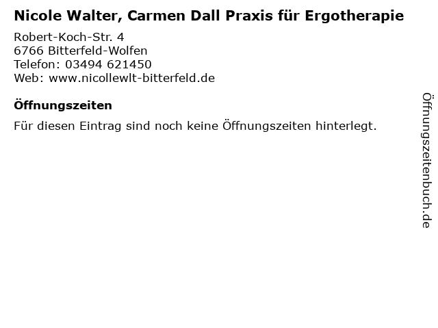 Nicole Walter, Carmen Dall Praxis für Ergotherapie in Bitterfeld-Wolfen: Adresse und Öffnungszeiten