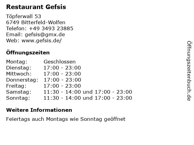 Restaurant Gefsis in Bitterfeld-Wolfen: Adresse und Öffnungszeiten
