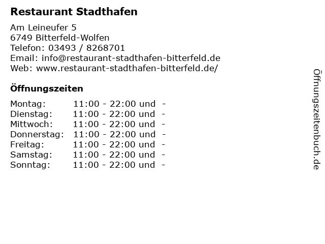 Restaurant Stadthafen in Bitterfeld-Wolfen: Adresse und Öffnungszeiten