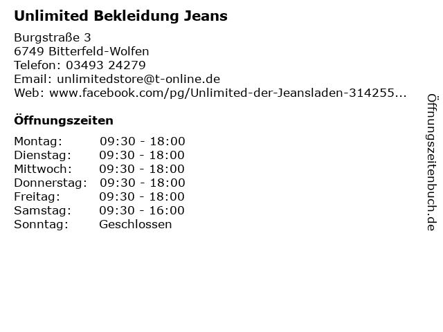 Unlimited Bekleidung Jeans in Bitterfeld-Wolfen: Adresse und Öffnungszeiten