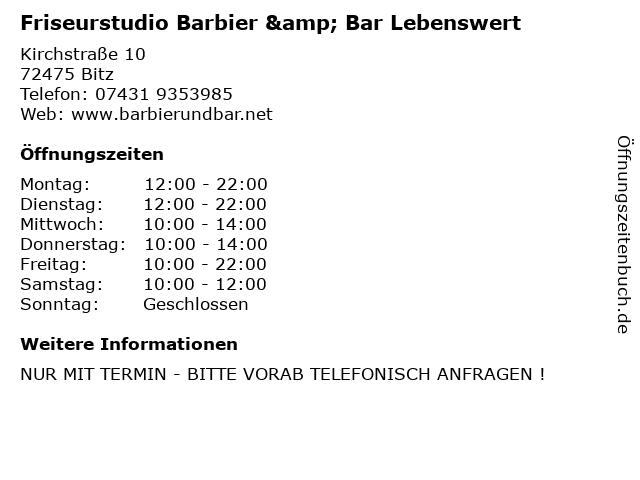 Friseurstudio Barbier & Bar Lebenswert in Bitz: Adresse und Öffnungszeiten