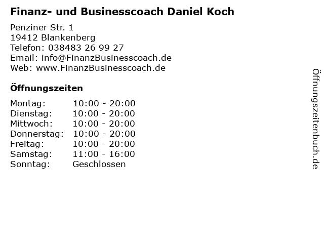 Finanz- und Businesscoach Daniel Koch in Blankenberg: Adresse und Öffnungszeiten