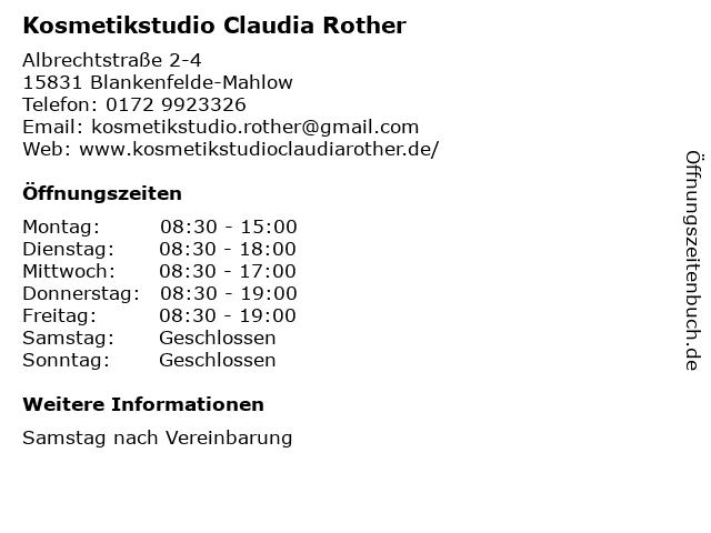 Kosmetikstudio Claudia Rother in Blankenfelde-Mahlow: Adresse und Öffnungszeiten