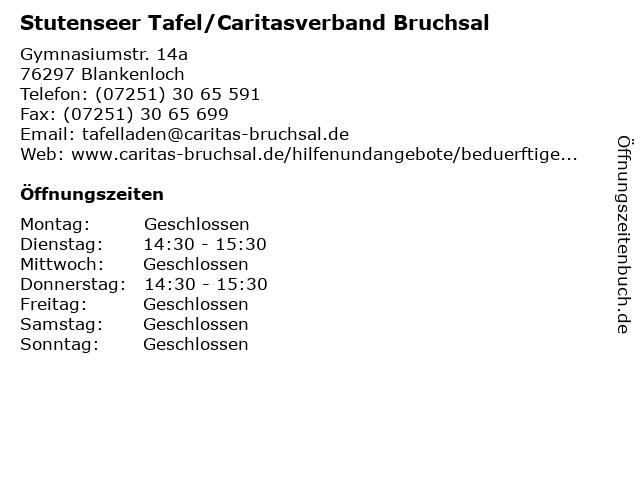 Stutenseer Tafel/Caritasverband Bruchsal in Blankenloch: Adresse und Öffnungszeiten