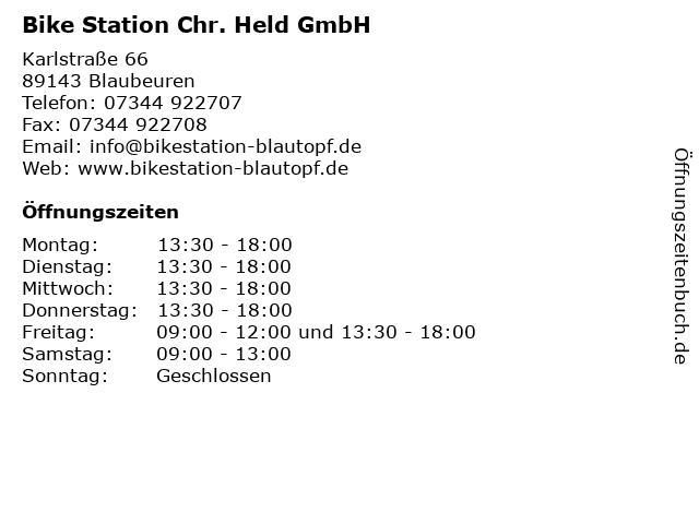 Bike Station Chr. Held GmbH in Blaubeuren: Adresse und Öffnungszeiten
