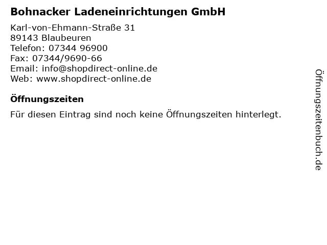Bohnacker Ladeneinrichtungen GmbH in Blaubeuren: Adresse und Öffnungszeiten