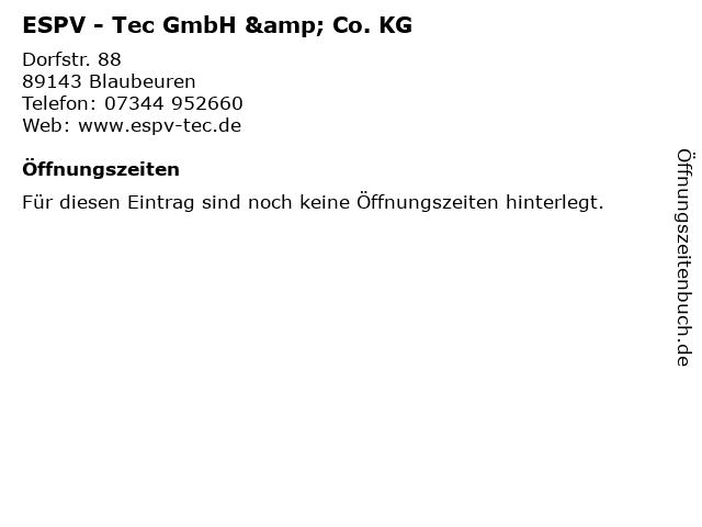 ESPV - Tec GmbH & Co. KG in Blaubeuren: Adresse und Öffnungszeiten