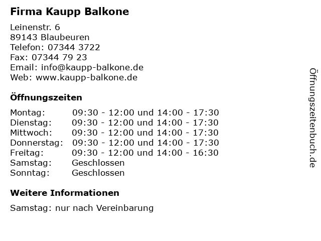 Firma Kaupp Balkone in Blaubeuren: Adresse und Öffnungszeiten